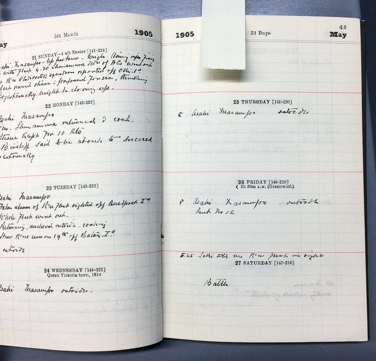 Майские страницы дневника Пакенема за 1905год. Снимок сделан автором статьи (при содействии Национального морского музея Великобритании)