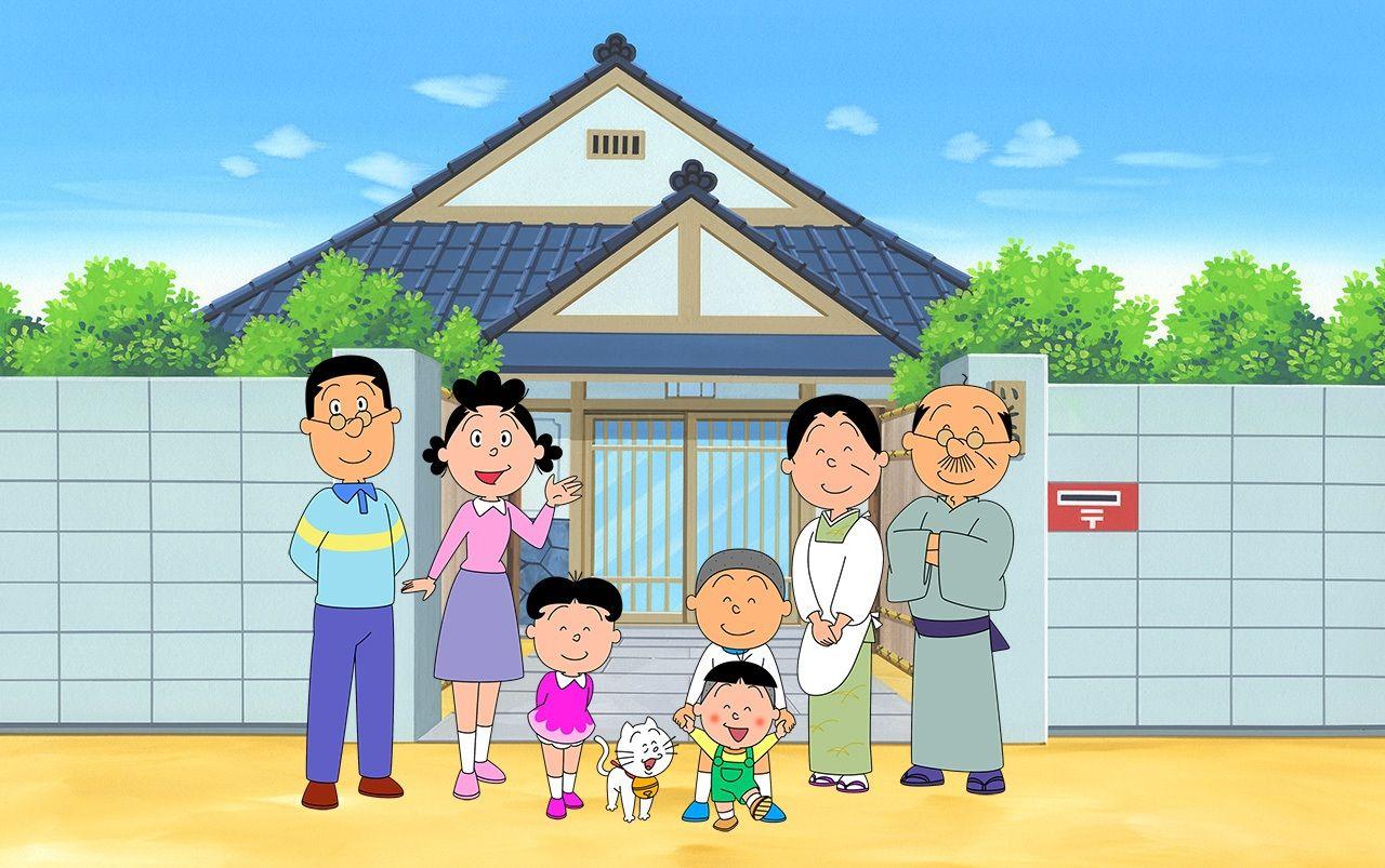 Семья Садзаэ: Слева направо – муж Масуо, Садзаэ, сестра Вакамэ, домашний кот Тама, брат Кацуо, сын Тарао (впереди), мать Фунэ и отец Намихэй (© Художественный музей Хасэгавы Матико)