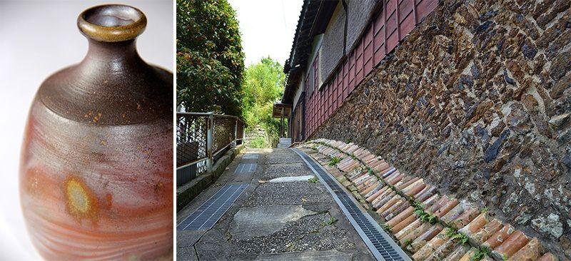Неглазурованная бутыль для сакэ бидзэн с эффектом натуральной золы и пятнами после дровяного обжига (слева);узкая дорога рядом с керамической мастерской Сэто, в стену врезаны подпорки печей(© Pixta)