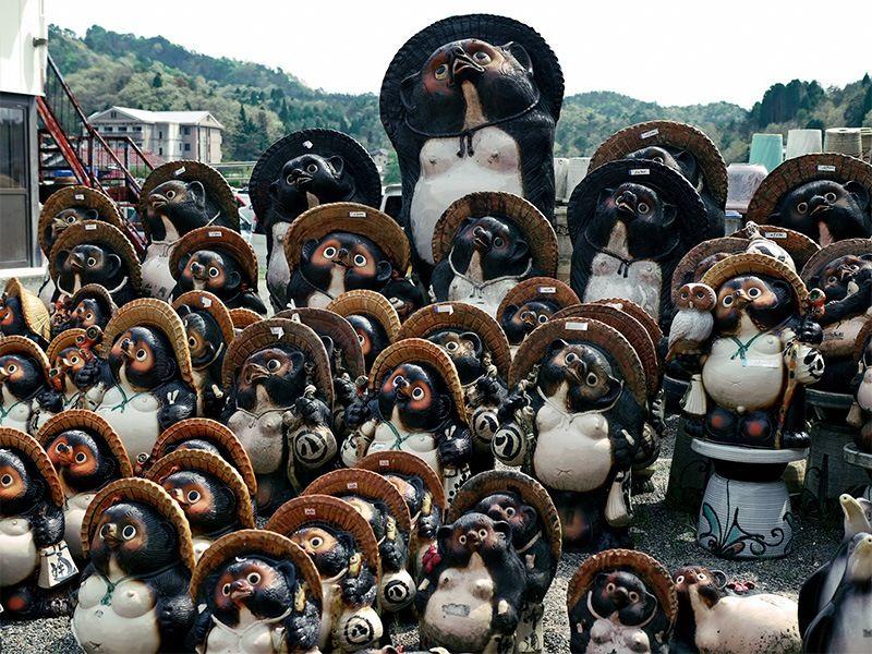 Статуэтки енотовидных собак (тануки) из Сигараки. Благодаря наличию качественной глины там начали делать японскую черепицу (© Pixta)