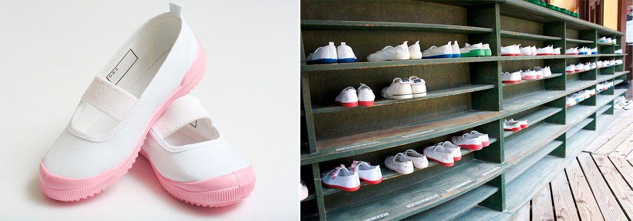Обычная сменная обувь (слева) (Pixta); место для переобувания у входа в школу (Photolibrary)