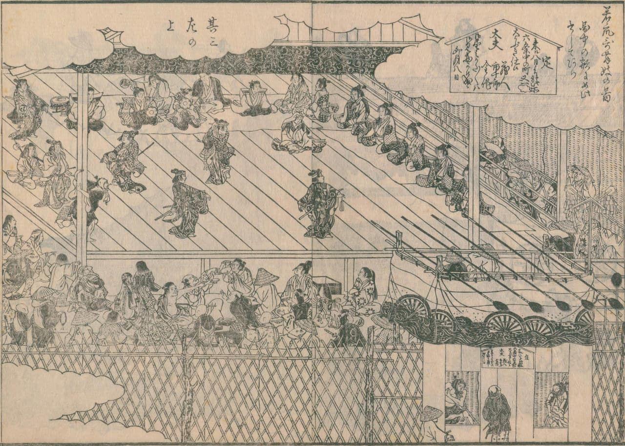 Изображение вакасю-кабуки, которое создал Сёсай Сэттэй, перерисованное Морисадой. Представление на проспекте Рокудзё в Киото. Действительно, исполнители похожи на юных мальчиков («Морисада манко», коллекция Национальной парламентской библиотеки)