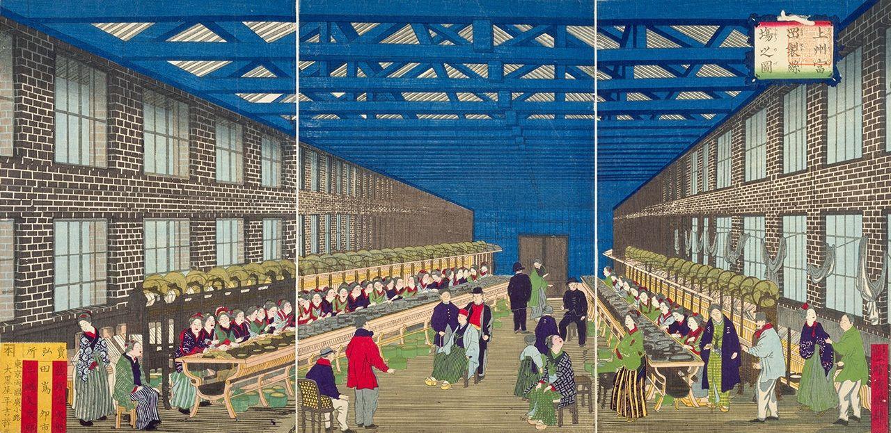 Гравюра, изображающая шёлковую фабрику в Томиоке преф. Гумма (Утагава Кунитэру II, 1873, предоставлена Библиотекой парламента Японии)