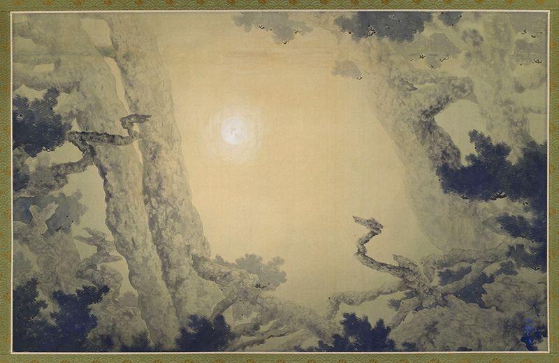 Ёкояма Тайкан, «Два дракона, сражающиеся за драгоценный камень», тушь, шёлк, 1905 г. На картине сосны изображены как два дракона, а луна – как драгоценный камень (фотография предоставлена Мемориальным холлом Ёкояма Тайкан)