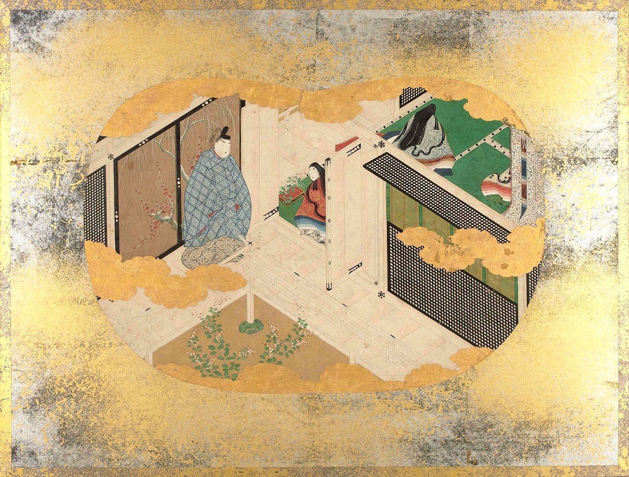 Картины в форме веера по Повести о Гэндзи», Глава «Кагэро» (Гэндзи моногатари утива гадзё, Хранилище материалов о японской литературе). Разлучённый с любимой Каору (сын Гэндзи) проходит через комнату, где собрались придворные дамы, любуется полевыми цветами и ведёт остроумный разговор с одной из дам