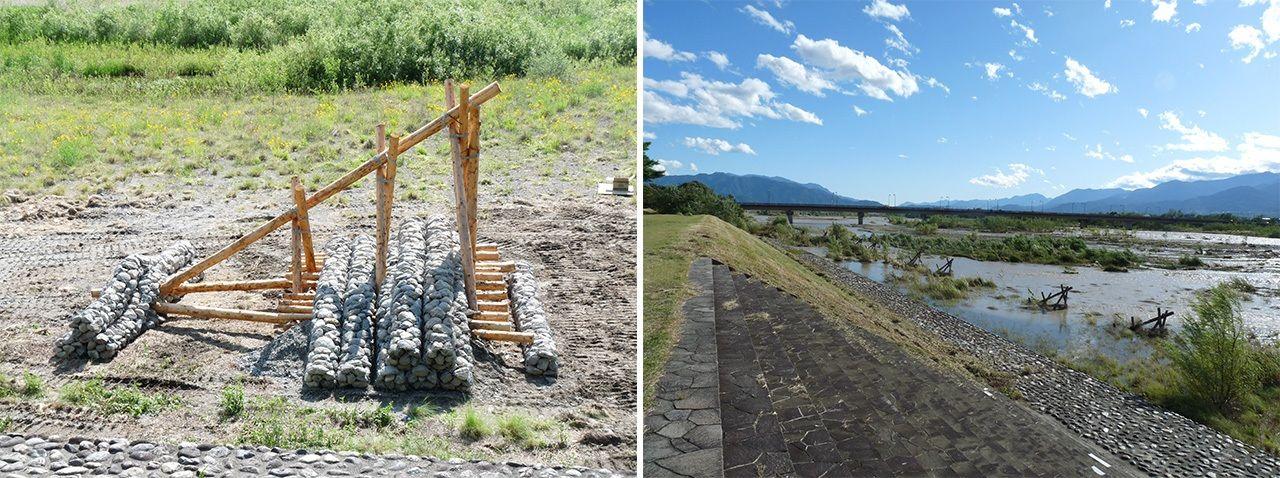 Устройство сэйгю дляуправления паводками, которое использовалТакэда Сингэн(слева) и район, где они использовались (предоставлено Советом по образованию г. Каи)