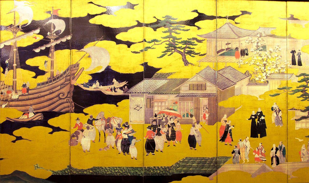 Складная ширма с изображением иностранного корабля в Японии(фрагмент, © Paylessimages / Pixta)