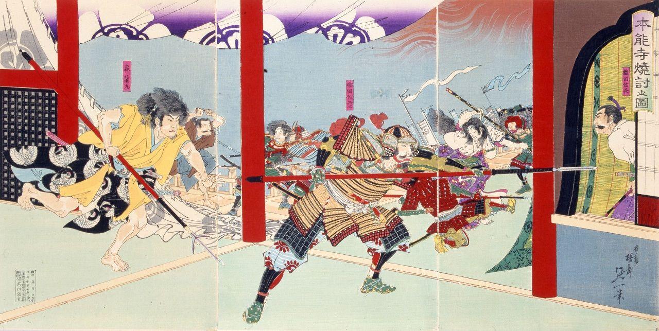 Картина укиё-э, изображающая инцидент в Хоннодзи.Ода Нобунага в глубине справа (предоставлено Мемориальным музеем Хидэёси и Киёмасы)