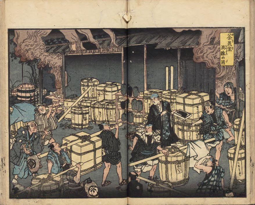 Иллюстрация к «Записям об эпидемии корори (холеры) годов Ансэй»: гробов так много, что невозможно кремировать всех (хранилище Национальной общественной библиотеки)