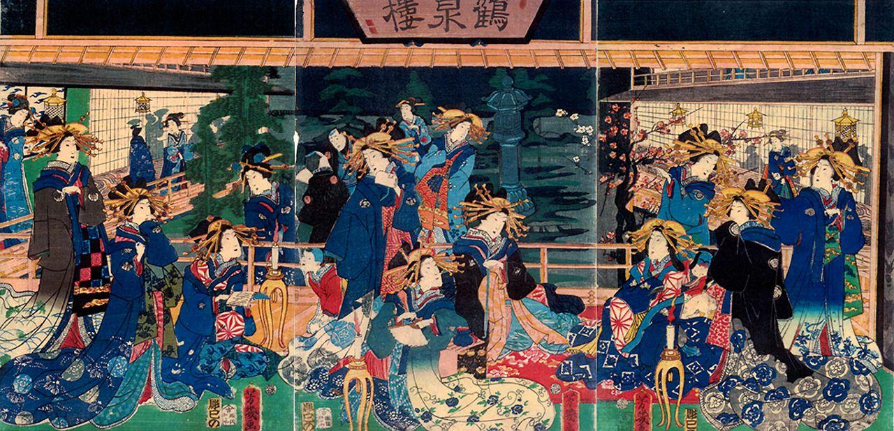 Отиаи Ёсиику «Какусэнро» (1863, частная коллекция).Проститутки дома «Какусэнро» в красочных одеждах