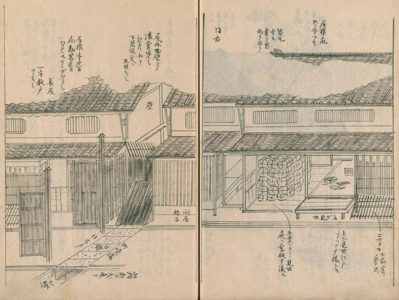 «Дом богатого торговца в Кёсака (1)». Место, где уложены тюки – это своего рода магазинная полка в Киото, называющаяся агэмисэ, характерная для магазинов Киото со времён Муромати (1336-1573);слева деревянная дверь, ведущая в комнату нагая