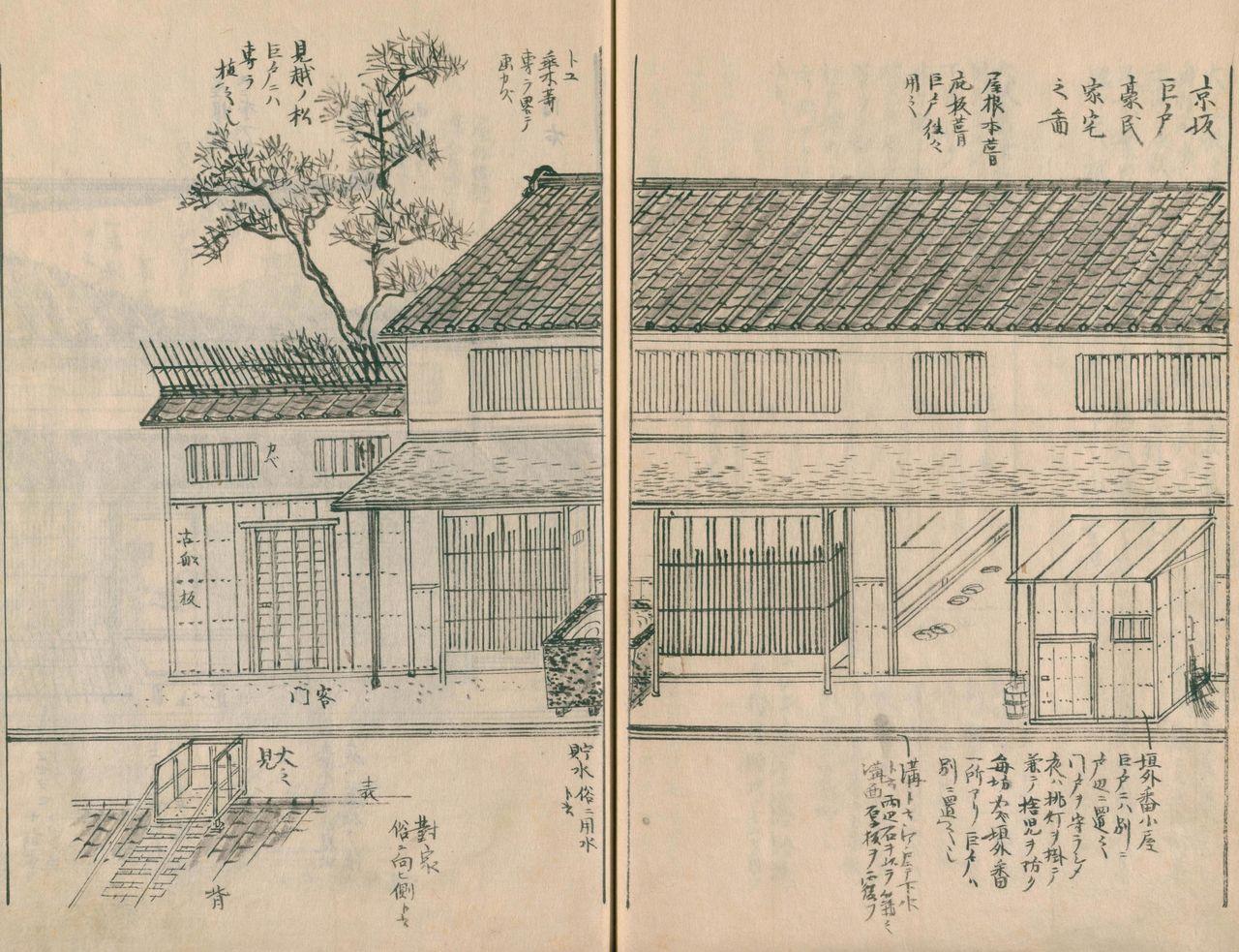 «Дом богатого торговца в Кёсака (2)». Справа от входа находится комната привратника бангоя для охраны входа.Слева от неё вход в дом; фасад узкий, но дом уходит далеко в глубину – это характерная черта киотоского дома кёматия