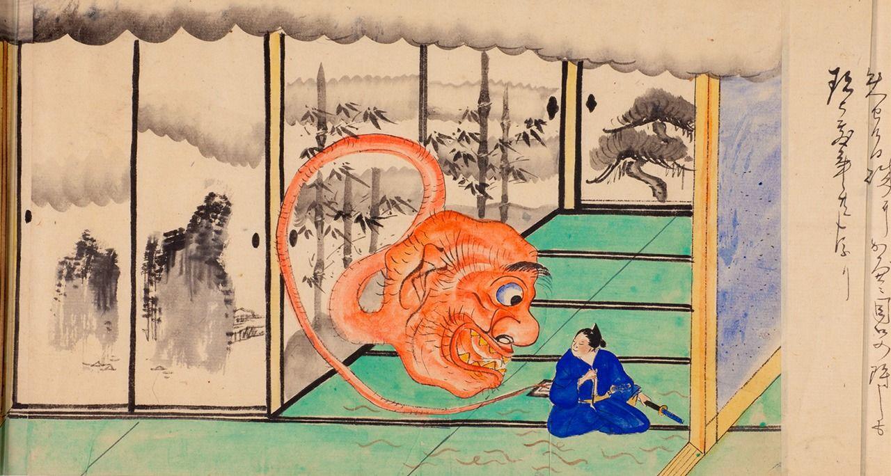 «Живописный свиток ста историй» (Хяку моногатари эмаки), фрагмент, период Мэйдзи (1868-1912). В период Мэйдзи и позднее «Записи о духах Ино» становились темой различных произведений.В этой сцене в тридцатый день седьмого лунного месяца из печи комнаты с татами появляется пепельный монстр. По комнате также ползает множество червей (предоставлено Мемориальным музеем японских ёкай Юмото Коити)