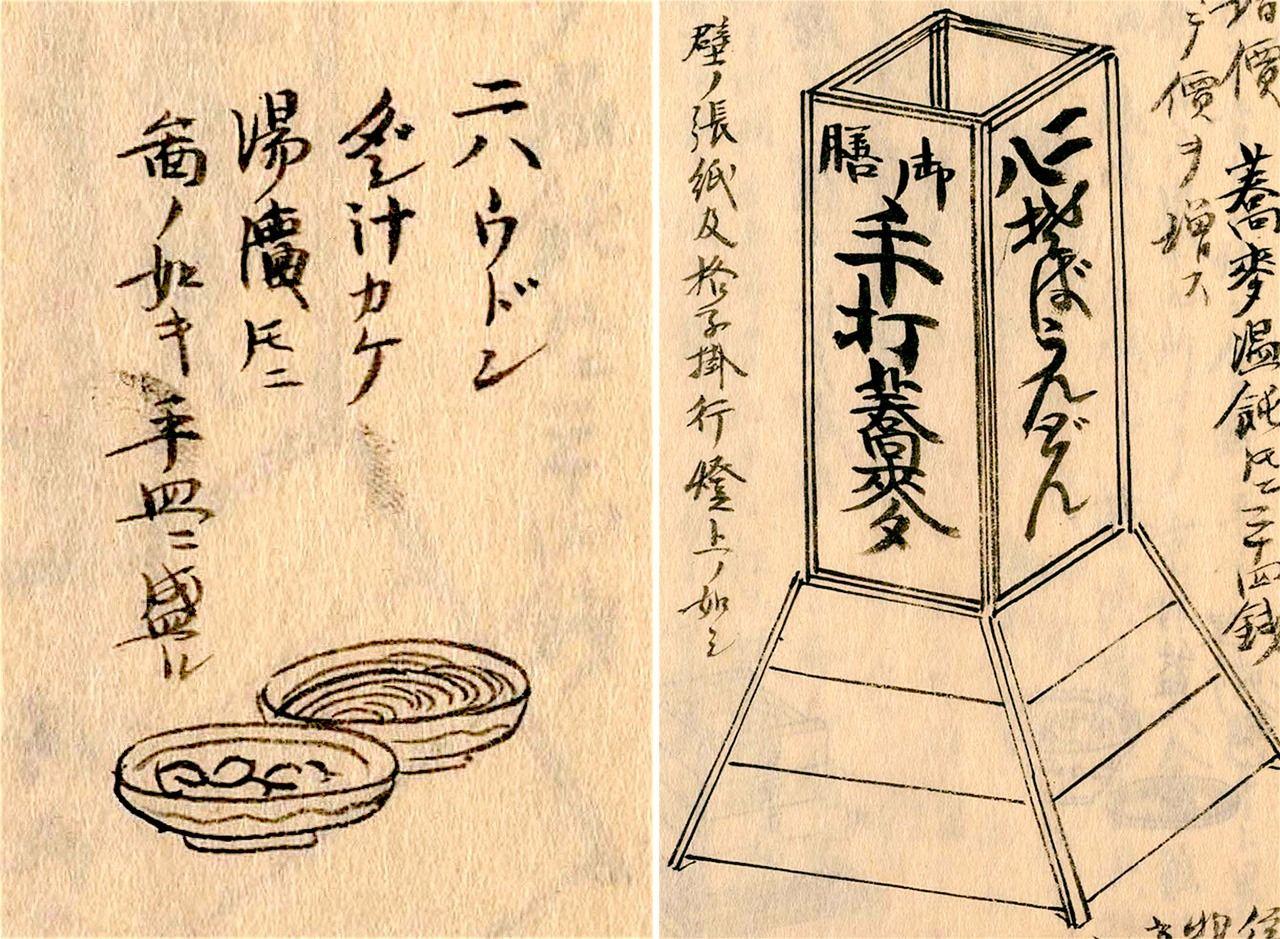 Слева: удон нихати в Кёсака,стиль буккакэ на плоской тарелке; справа: «нынешняя лавка соба в Эдо», вывеска с упоминанием нихати, «дважды восемь»