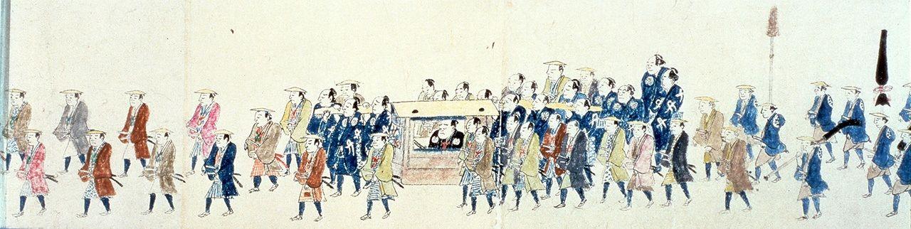 Живописный свиток «Ракусан когёрэцу дзукан» изображает 13-го даймё княжества Сэндай Датэ Ёсикуни (Ракусан), впервые едущего из Эдо домой после обязательного пребывания в Эдо в 13 году Тэмпо (1842). В процессии было 1577 человек – вероятно, она выглядела очень впечатляюще (собрание Сендайского городского музея)