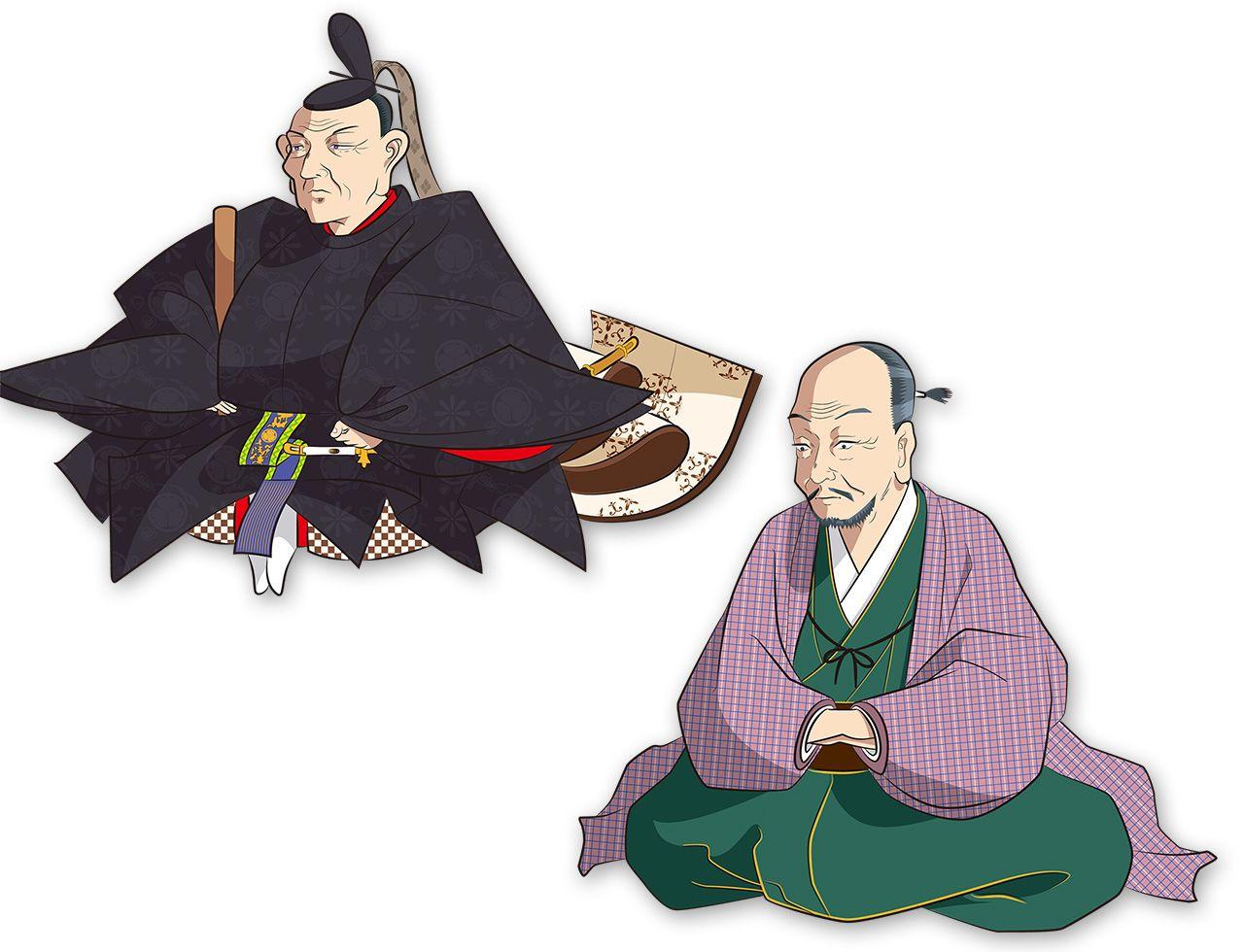 Слева – Токугава Ёсимунэ, восьмой сёгун Токугава, считающийся выдающимся правителем и организатором реформ годов Кёхо. Даже Ёсимунэ было крайне сложно изменить систему санкин котай. Справа – Муро Кюсо, литератор и конфуцианец, который помогал Ёсимунэ в проведении реформ Кёхо, в том числе работал над реформированием системы санкин котай (иллюстрация Сато Датаси)