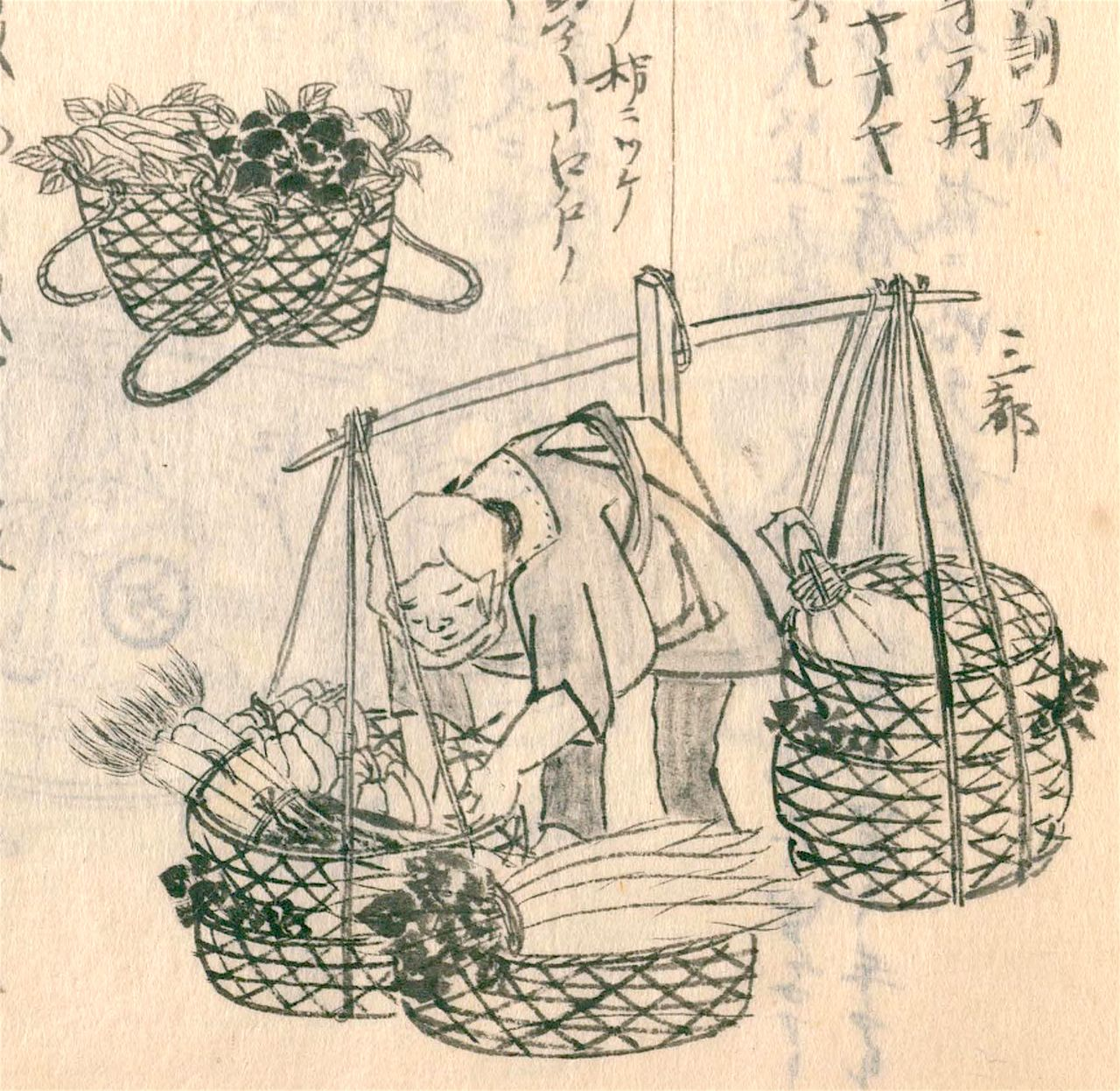 Ботэфури, торгующий редькой-дайкон. На переднем плане – регион Кэйхан (Киото и Осака), сзади (вверху слева) – Эдо; заметны отличия формы корзин («Морисада манко», Национальная парламентская библиотека)