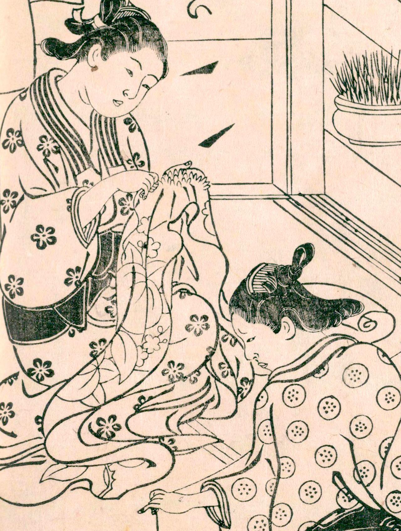 Дочь горожанина учится шить (Хякунин дзёро синасадамэ, «Сравнение сотни женщин», Национальная парламентская библиотека)