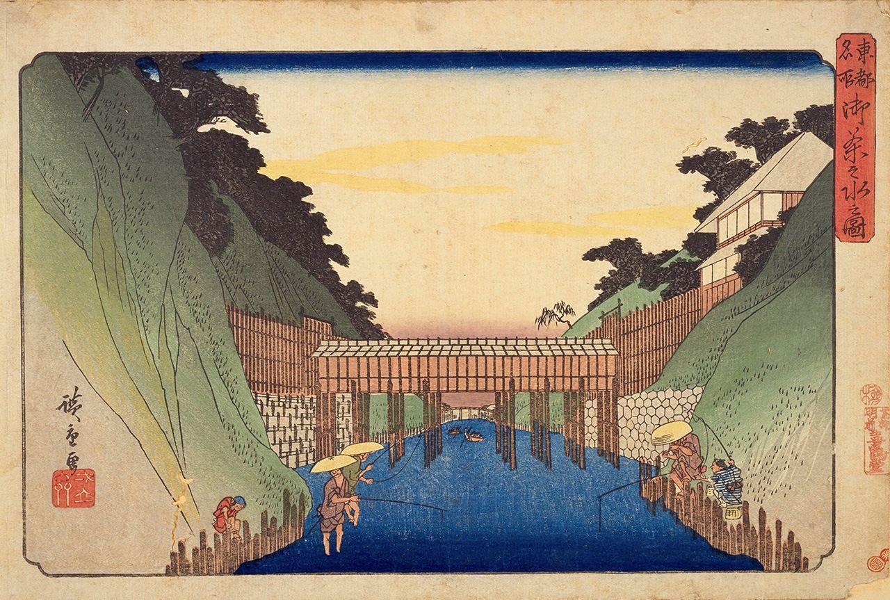 Утагава Хиросигэ, «Знаменитые места Восточной столицы: Отяномидзу» (Тото мэйсё, Национальная парламентская библиотека)