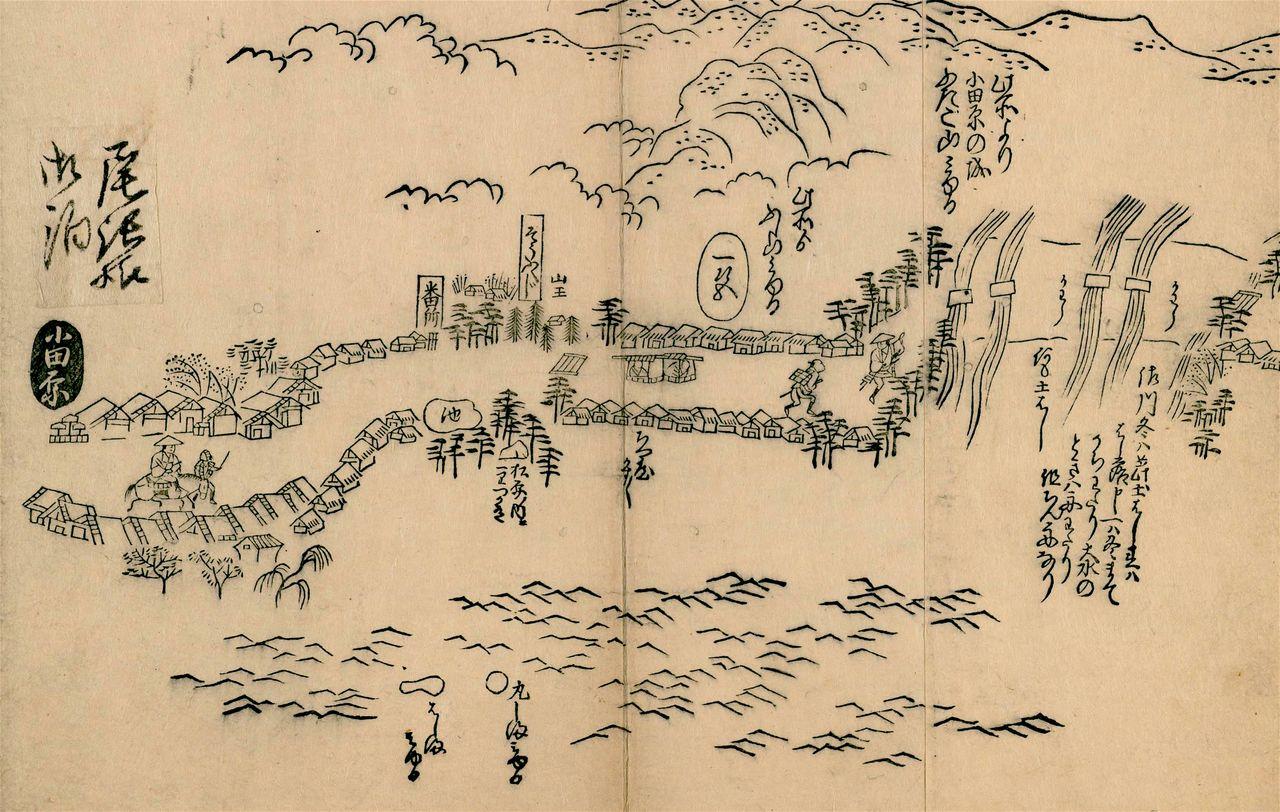 Постоялый посёлок Одавара-дзюку в «Карте участков тракта Токайдо». Это был один из крупнейших постоялых посёлков на Токайдо. Большие здания слева – вероятно, хондзин и тоияба (коллекция Национальной парламентской библиотеки)