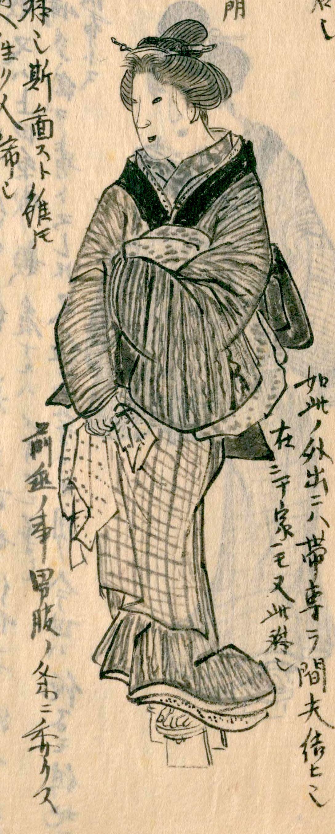 Китагава Морисада, «Одежда женщины из дома с малой дверью в нынешнем Эдо»