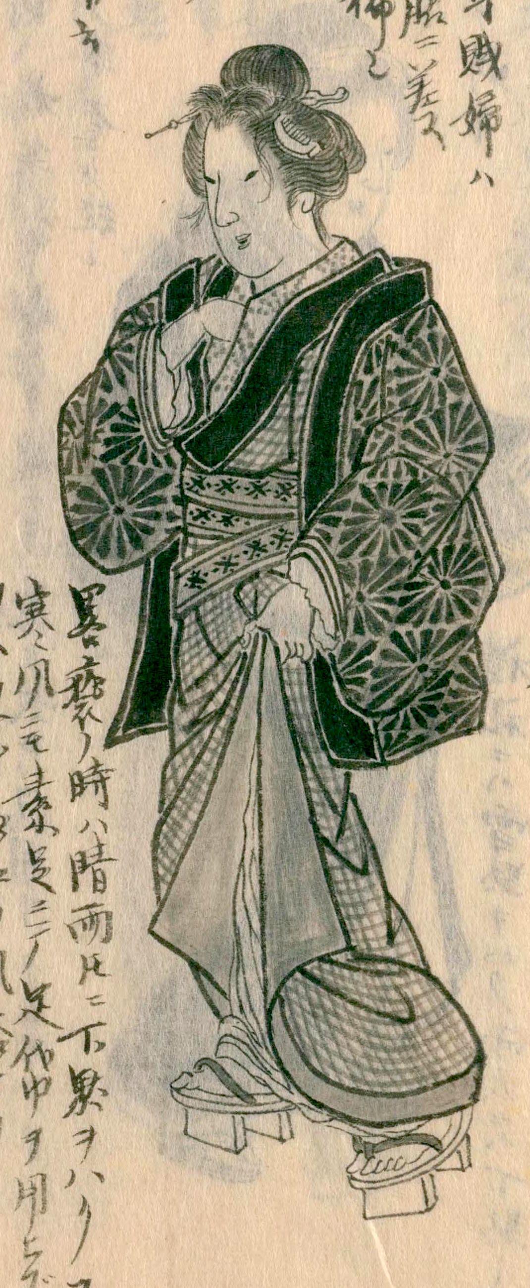 Китагава Морисада, «Изображение одеяния сэппуку женщины из дома с малой дверью в нынешнем Эдо», повседневная одежда замужней женщины