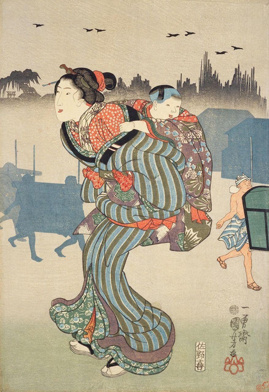 Утагава Куниёси, «Утренний туман в Комагата» (1847)