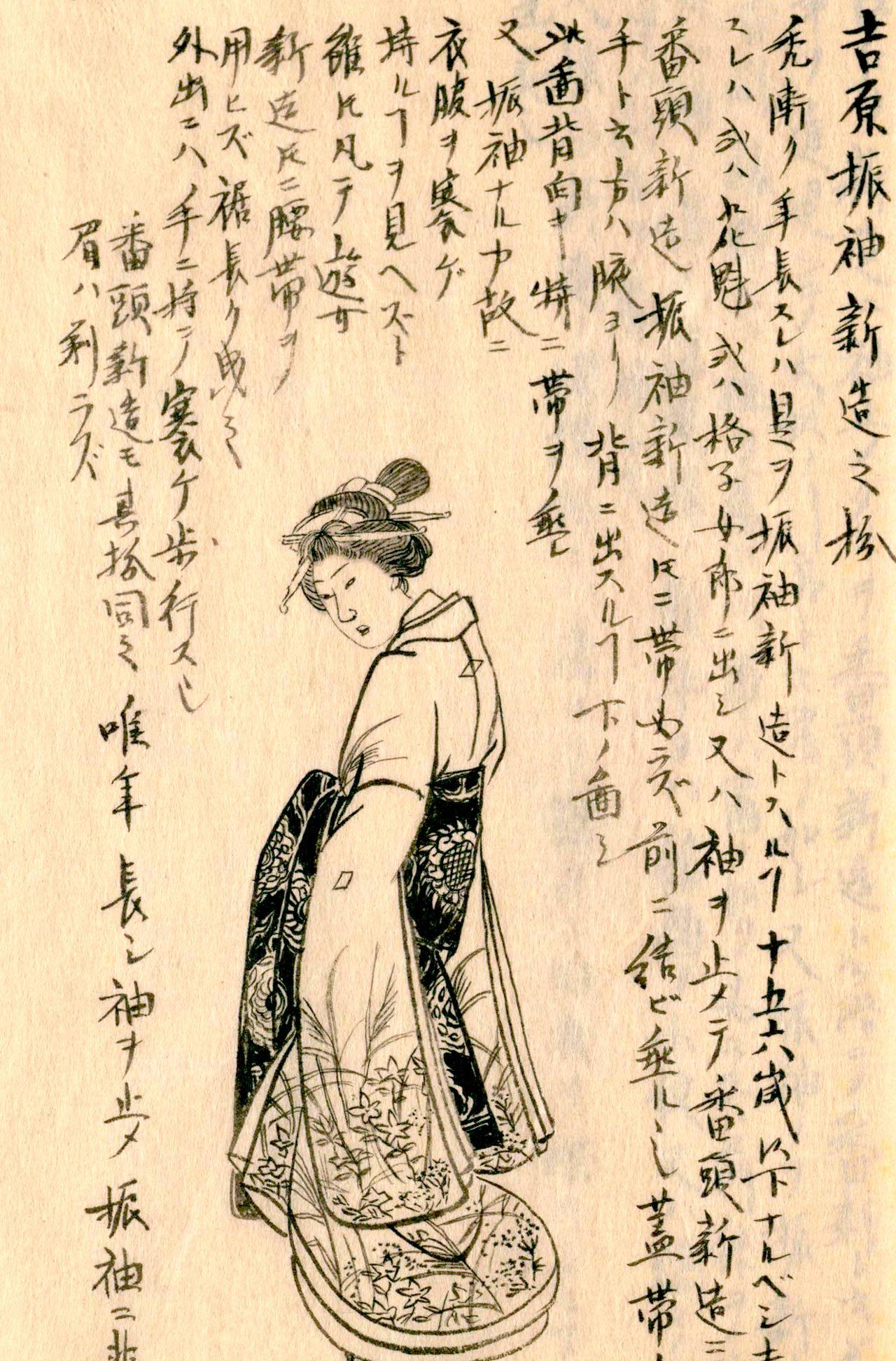 «Изображение фурисодэ-синдзо из Ёсивары» («Морисада манко», Национальная парламентская библиотека)