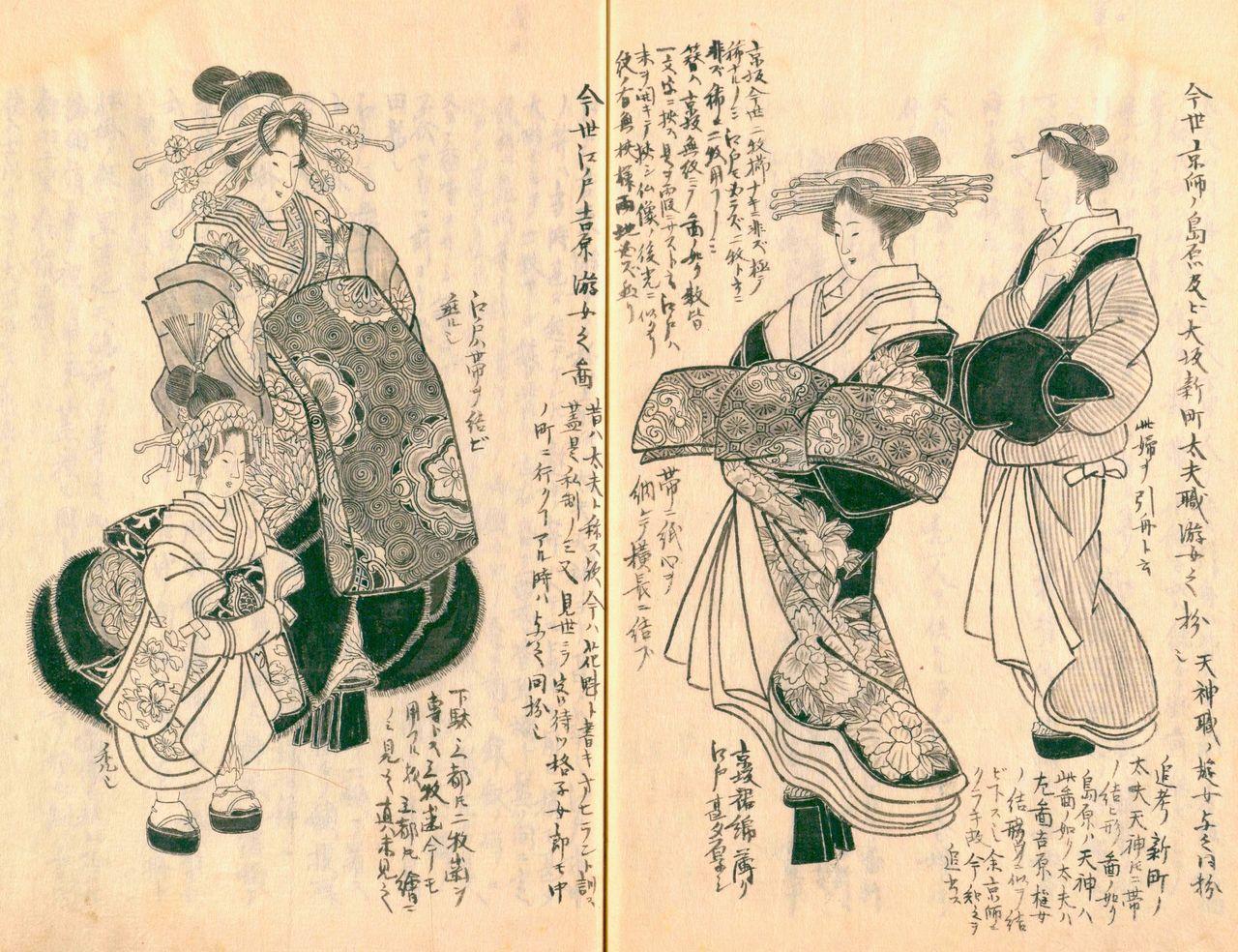 Справа – «Изображение нынешних куртизанок таю Симабары в Киото и Симмати в Осаке», слева – «Нынешние куртизанки Ёсивары в Эдо», изображение куртизанок ойран («Морисада манко», Национальная парламентская библиотека)