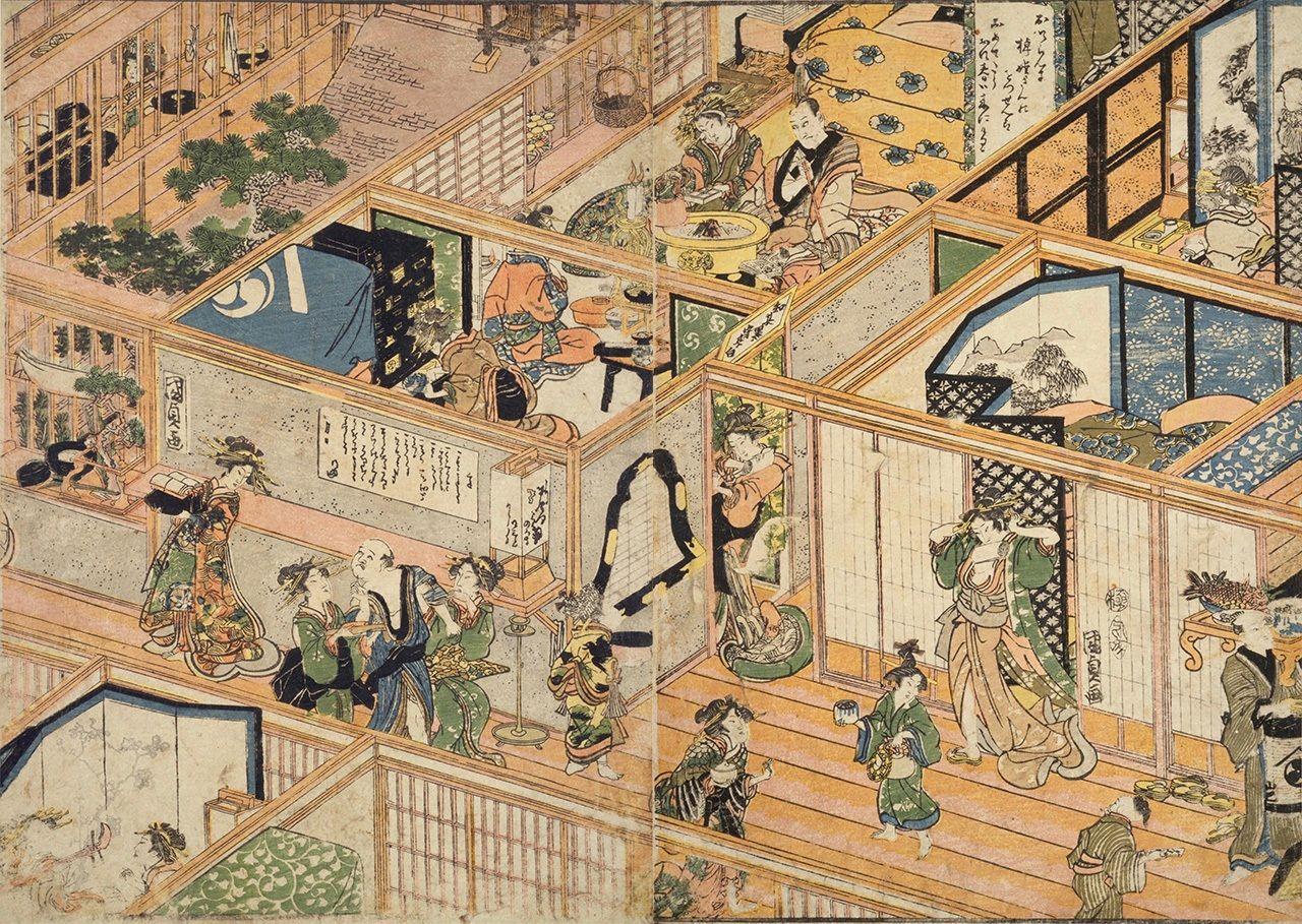 «Изображение дома развлечений в квартале развлечений Ёсивара» (Ёсивара юкаку сёка-но дзу, Национальная парламентская библиотека), здесь показана суетливая жизнь на втором этаже публичного дома