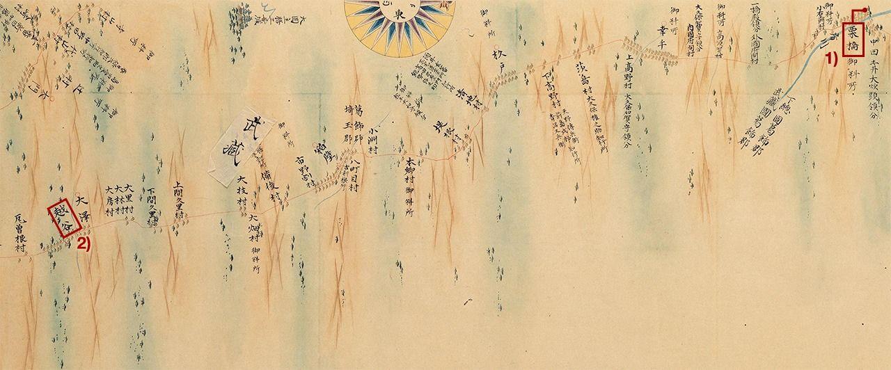Рис. 87 «Симоцукэ, Симоса, Мусаси» карты «Большой полной карты Японии» (Дай нихон энкай ёти дзэндзу), которую на основе измерений создал Ино Тадатака. 1) Постоялый посёлок Курихаси, 2) постоялый посёлок Косия (коллекция Национальной парламентской библиотеки)