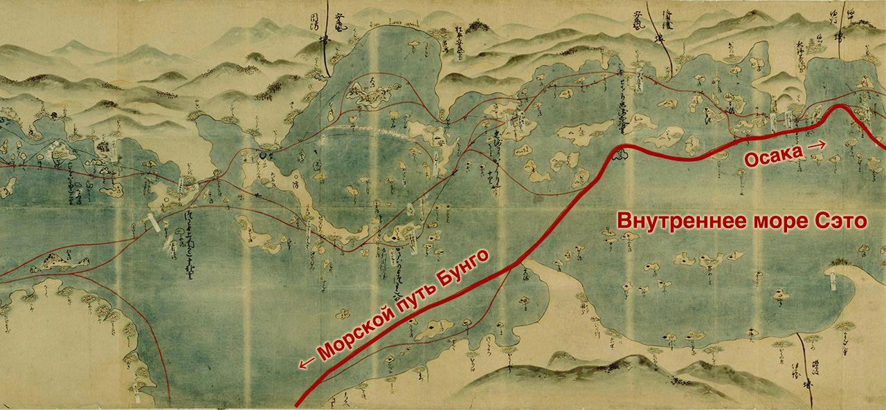 «Карта морских дорог западных земель» (копия), созданная в ранний период Эдо. Жирная линия показывает морской путь, который, вероятно, использовался княжеством Кумамото (коллекция Национальной парламентской библиотеки)