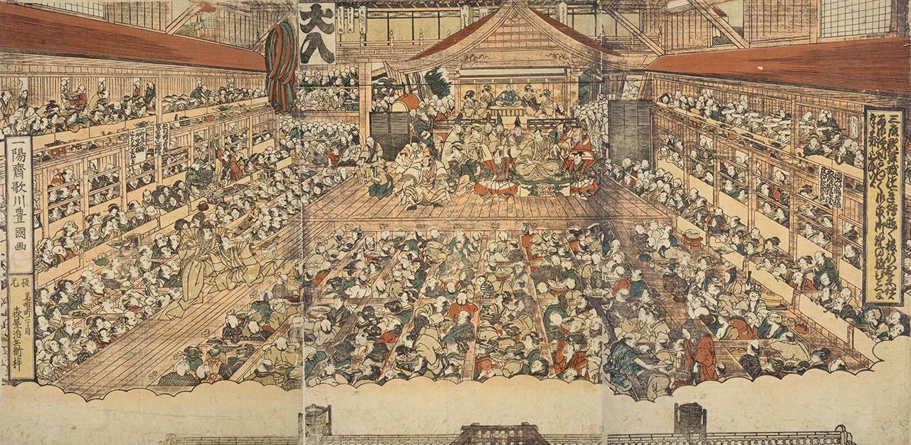 Утагава Тоёкуни, «Картины Накамура-дза снаружи и внутри», 1817 г. (коллекция Национальной парламентской библиотеки)