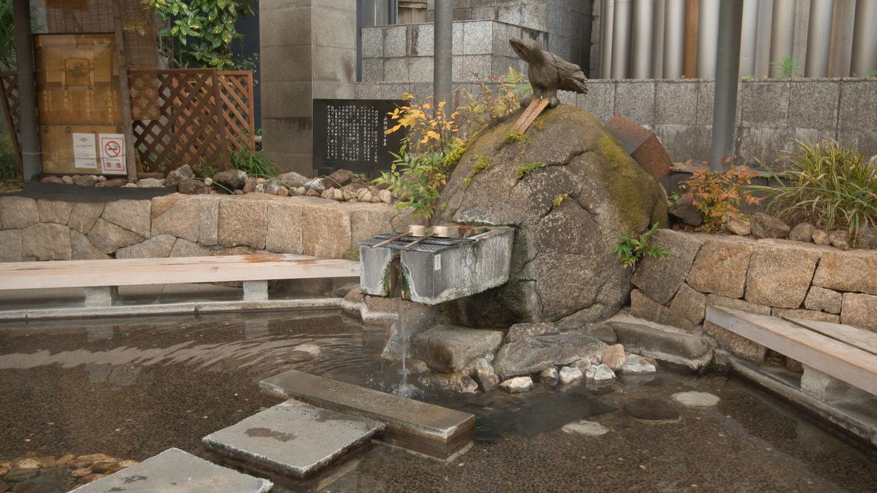 Над источником лежат ковши, с помощью которых можно пить минеральную воду