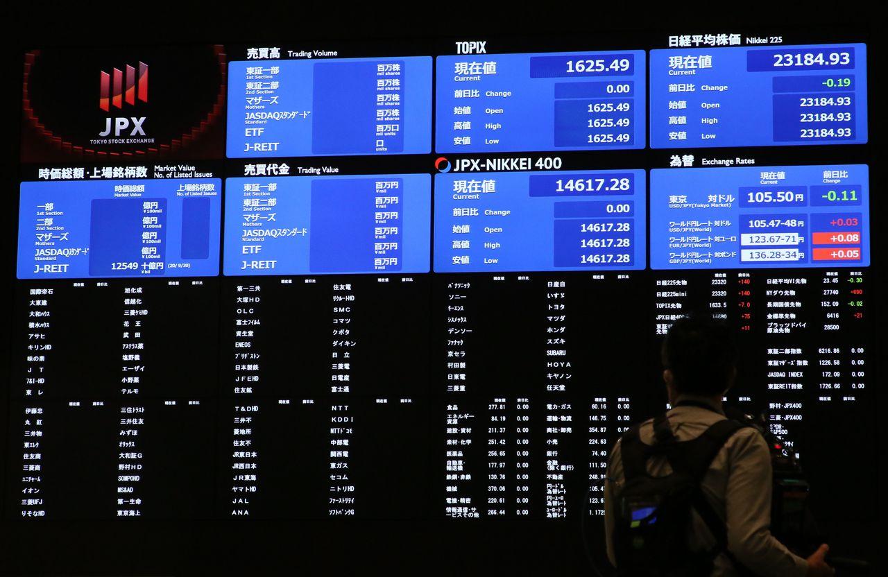 Табло Токийской фондовой биржи, нацелый день прекратившей торговлю акциями повсему списку наименований из-за системной поломки. Утро 1октября 2020г., Токио, район Тюо (© Jiji Press)