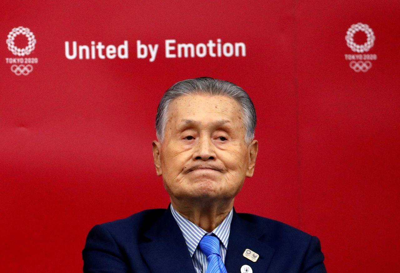 ФОТОГРАФИЯ: Мори Ёсиро, президент организационного комитета Олимпийских игр в Токио-2020, на пресс-конференции в Токио, Япония, 17 июля 2020 г. REUTERS / Issei Kato / Pool