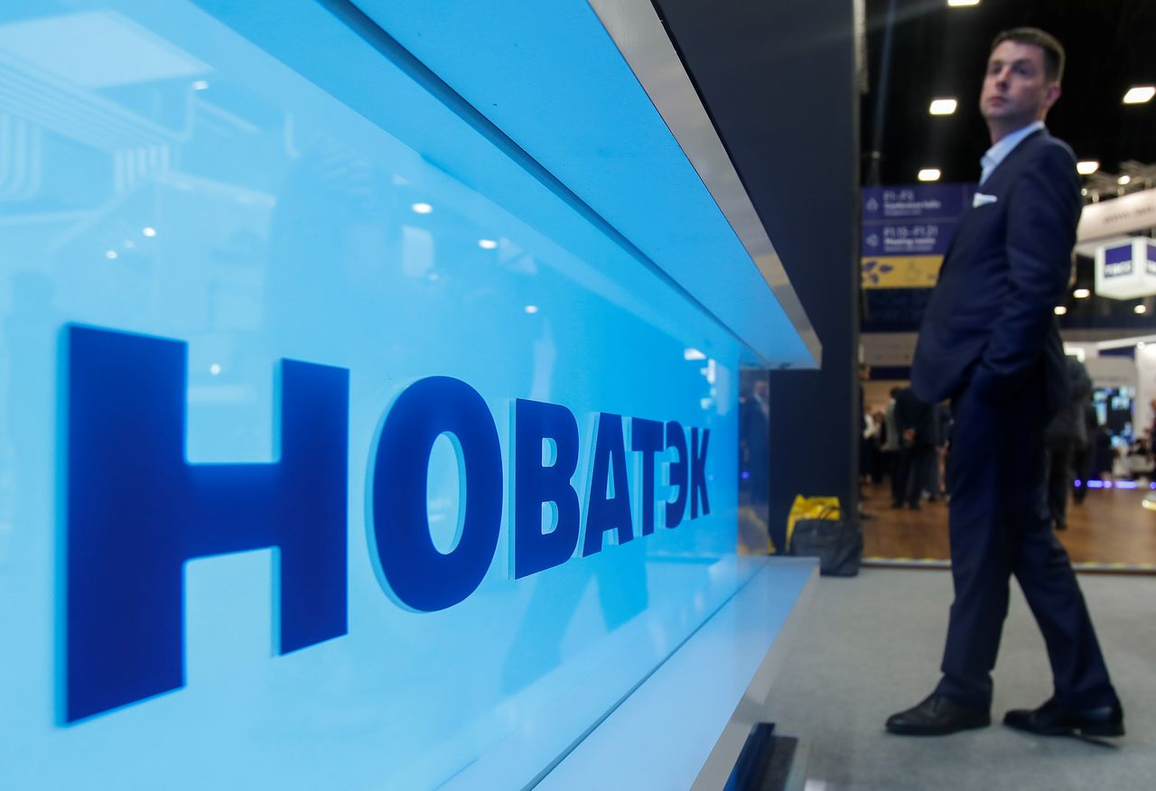 The logo of Russian gas producer Novatek is seen on a board at the St. Petersburg International Economic Forum (SPIEF), Russia, June 6, 2019. REUTERS/Maxim Shemetov
